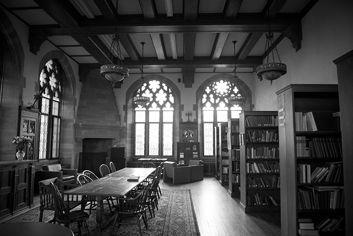 the department library, shot in black and white