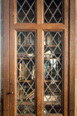 books in an ornate bookcase with glass and wooden door